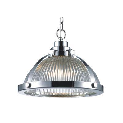 Pendente Aço Vidro Transparente Prismatico Cromado 25x33cm Bella Iluminação 1 E27 Bivolt BR014 Cozinhas e Salas