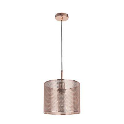 Pendente Telinha Redondo Vertical Metal Cobre 25x20cm Bella Iluminação 1 E27 Bivolt CI001 Entradas e Cozinhas
