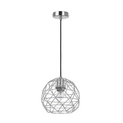 Pendente Arami Metal Cromado Esfera Aramado 18x21cm Bella Iluminação 1 E27 Bivolt CI004C Salas e Cozinhas