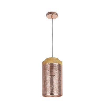 Pendente Telinha Tubular Metal Cobre Madeira 28x15cm Bella Iluminação 1 E27 Bivolt CI005B Entradas e Cozinhas