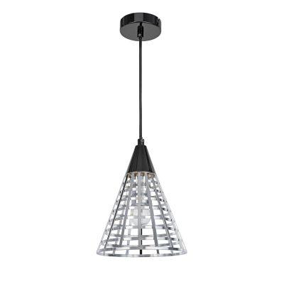 Pendente Grou Cônico Aramado Metal Cromado Preto 24x19cm Bella Iluminação 1E27 Bivolt CI006C Salas e Cozinhas