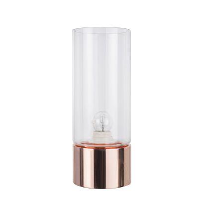 Abajur Moa Metal Cobre Vidro Transparente 31,5x12cm Bella Iluminação 1 E-27 Bivolt CI013B Mesas e Salas