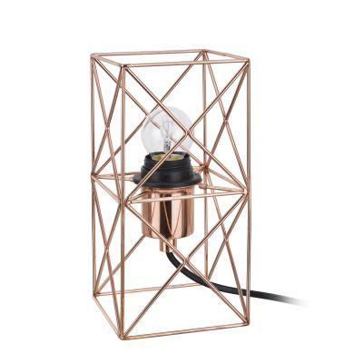 Abajur Arami Aramado Retangular Metal Cobre 22x11cm Bella Iluminação 1 E-27 Bivolt CI014B Mesas e Salas