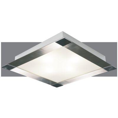 Plafon Metal Cromado Vidro Fosco Quadrado 9x57,5cm Bella Iluminação 6 E-27 Bivolt CM497-6 Salas e Cozinhas