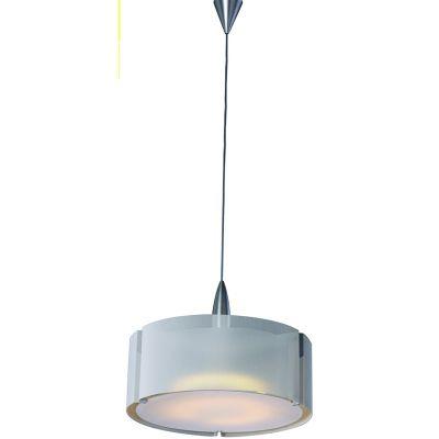 Pendente Prata Alumínio Vidro Acrílico Branco 45x35cm Bella Iluminação 1 E27 Bivolt CO2934 Salas e Quartos