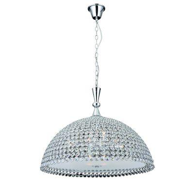 Pendente Palla Metal Cromado Cristal Vidro 60x60cm Bella Iluminação 11 G9 Halopin Bivolt CW8360 Cozinhas e Salas