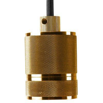 Pendente Socket Tubular Vertical Metal Dourado 6x4,8cm Bella Iluminação 1 E-27 Bivolt DA002B Salas e Quartos