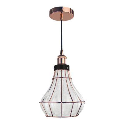 Pendente Vitti Funil Metal Rose Vidro Transparente 22x20cm Bella Iluminação 1 E-27 40W DA004 Salas e Corredores