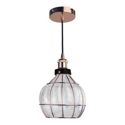 Pendente Vitti Esfera Metal Rose Vidro Transparente 20x19cm Bella Iluminação 1 E-27 40W DA005 Salas e Corredores