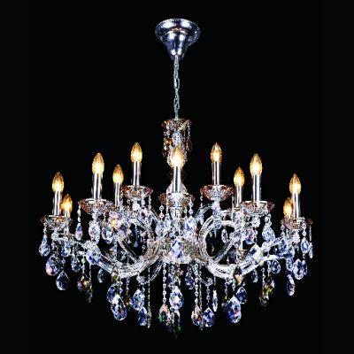 Lustre Gallery Candelabro Cristal Asfour Âmbar 69x88cm Bella Iluminação 15 E14 Bivolt DM83264-15 Entradas e Hall