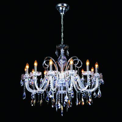 Lustre Gallery Candelabro Cristal Asfour Âmbar 85x100cm Bella Iluminação 14 E14 Bivolt DM83283-14 Salas e Hall