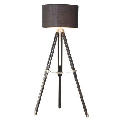 Coluna Luminária de Chão Tripé Metal Madeira Preto 160x50cm Bella Iluminação 1 E27 Bivolt EA006 Salas e Quartos