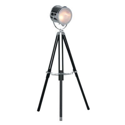 Coluna Luminária de Chão Metal e Madeira Preto Cromado 155x25cm Bella Iluminação 1 E27 Bivolt EA018 Salas e Quartos