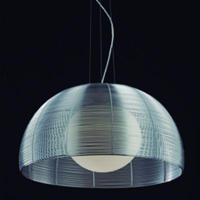 Pendente Wire 1/2 Esfera Vidro Metal Cupula Alumínio Ø40cm Bella Iluminação 1x E27 Bivolt GA007S Salas e Entradas