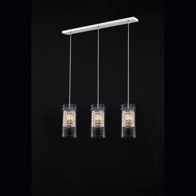 Pendente Cantata Tubular Triplo Vidro Cristal 20x11cm Bella Iluminação 3x G9 Halopin Bivolt GA018 Salas e Cozinhas