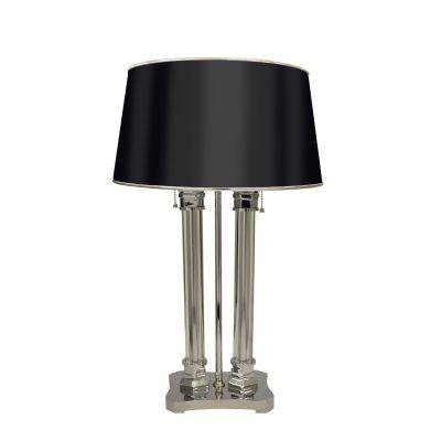 Abajur Metal Cromado Vidro Cupula Tecido Preto 54x19cm Bella Iluminação 2x E27 Bivolt GT001 Mesas e Quartos