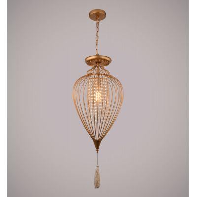 Pendente Indian Aramado Cristal Metal Dourado 43x23cm Bella Iluminação 1 E27 Bivolt GX008SC Entradas e Salas