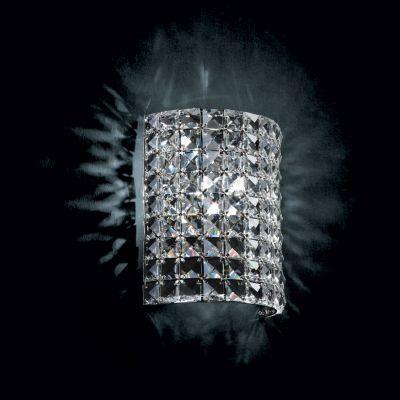 Arandela Gliss Quadrada Metal Cromado Cristal 22x18cm Bella Iluminação 1 G9 Halopin BIvolt HO001 Corredores e Salas
