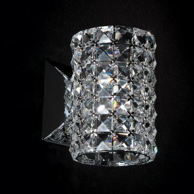 Arandela Gliss Tubular Metal Cromado Cristal 16x12cm Bella Iluminação 1 G9 Halopin Bivolt HO002 Corredores e Salas