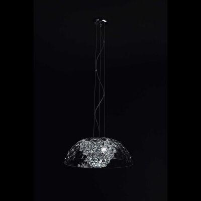 Pendente Bloom 1/2 Esfera Cristal Metal Cromado Ø53cm Bella Iluminação 5 G9 Halopin Bivolt HO005C Salas e Hall