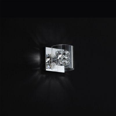 Arandela Ravel Metal Cromado Cristal Vidro 13x14cm Bella Iluminação 1 G9 Halopin Bivolt HO028 Corredores e Salas