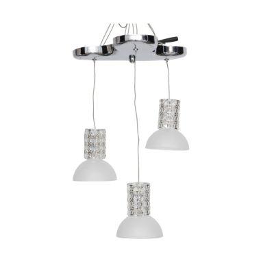 Pendente Aco Metal Cromado Vidro Transparente Ø32cm Bella Iluminação 3 G4 Bi-pino 220V HO031B Salas e Cozinhas