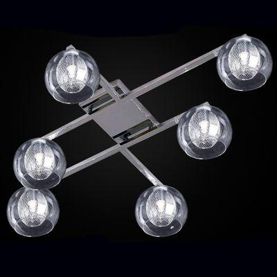 Plafon Metal Cromado 6 Cupulas Vidro Transparente 67x98cm Bella Iluminação 6 G9 Halopin Bivolt HO046 Salas e Hall