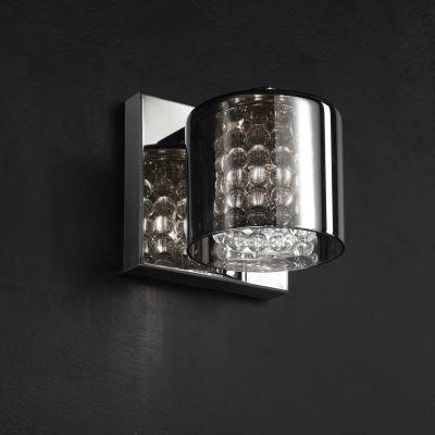 Arandela Glace Tubular Metal Cromado Cristal 13x12cm Bella Iluminação 1 G9 Halopin Bivolt HO049 Quartos e Banheiros