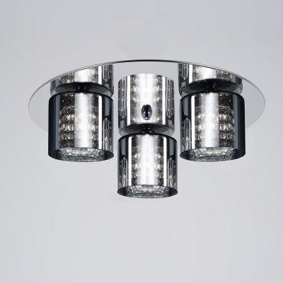 Plafon Glace Triplo Metal Cromado Cristal 12x38cm Bella Iluminação 3 G9 Halopin Bivolt HO053 Entradas e Quartos