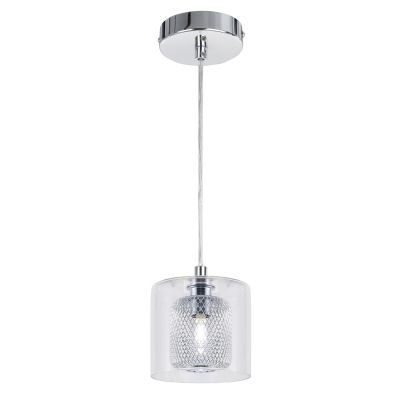 Pendente Lampar Tubular Metal Cromado Vidro 13x12cm Bella Iluminação 1 G9 Halopin 40W Bivolt HO055P Salas e Hall