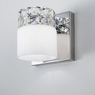 Arandela Allegro Metal Cristal Vidro Opaco 13x14cm Bella Iluminação 1 G9 Halopin Bivolt HO066 Banheiros e Quartos
