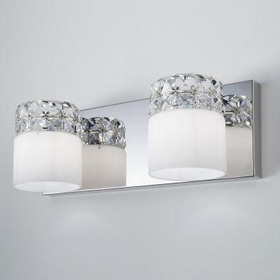 Arandela Allegro Dupla Metal Cristal Vidro Opaco 13x37cm Bella Iluminação 2 G9 Halopin HO067 Corredores e Salas