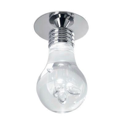 Plafon Bolha Lâmpada Metal Cromado Acrílico 15x11cm Bella Iluminação 1x LED Bivolt HO071C Corredores e Cozinhas