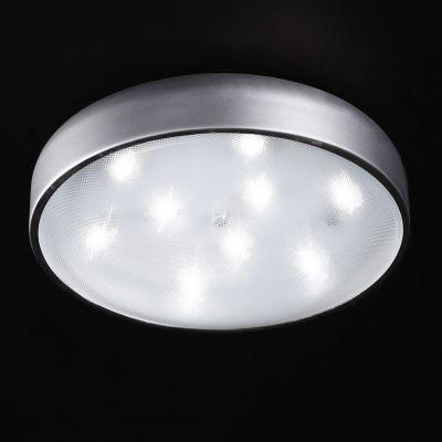 Plafon Prata Redondo Alumínio Acrílico Branco 13x46cm Bella Iluminação 12 LED Bivolt HO093S Corredores e Quartos