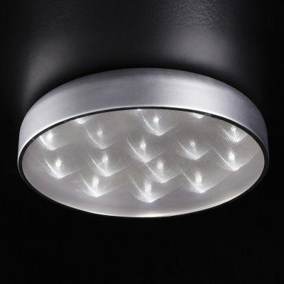 Plafon Prata Redondo Alumínio Acrílico Branco 13x56cm Bella Iluminação 16 LED Bivolt HO094S Corredores e Quartos