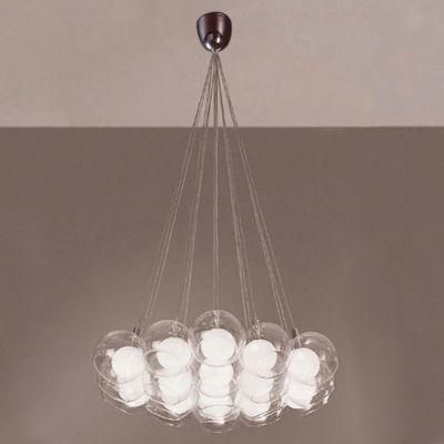 Pendente Balls Aço Esferas Vidro Transparente Fosco Ø85cm Bella Iluminação 19 G4 Bi-pino 127V HO1019A Salas e Hall