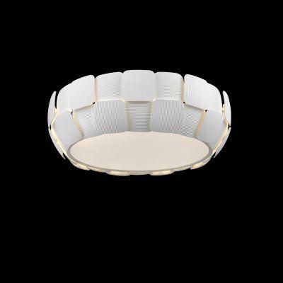 Plafon Vega Policarbonato Acrílico Redondo Branco 16x46cm Bella Iluminação 4 E27 Bivolt HO102 Cozinhas e Banheiros