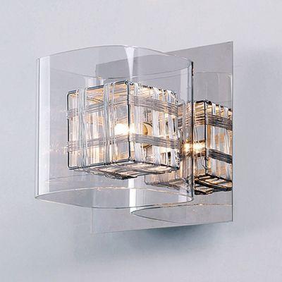 Arandela Ravel Metal Vidro Transparente 13x13cm Bella Iluminação 1 G9 Halopin Bivolt HO110B Corredores e Salas