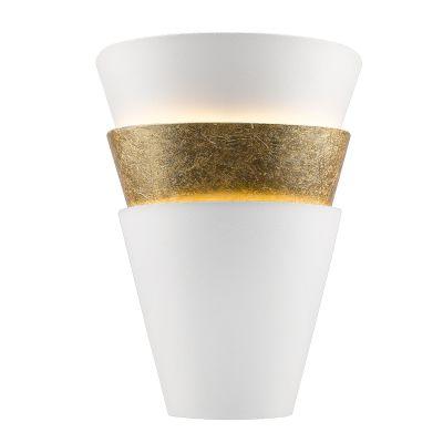 Arandela Aleo Metal Vidro Vertical Branco Dourado 30x25cm Bella Iluminação 1 E14 Bivolt HO117 Corredores e Quartos