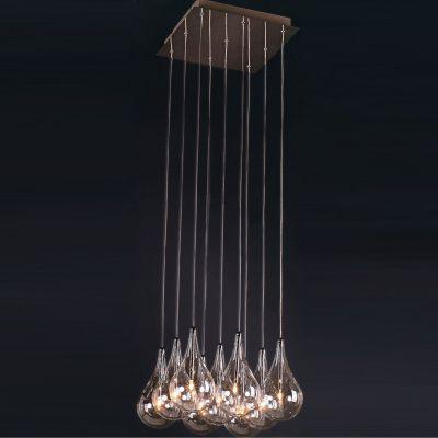 Pendente Drop Metal Cromado Lampada Vidro Tranparente Ø37cm Bella Iluminação 9 G4 Bi-pino 127V HO1370A Salas e Hall