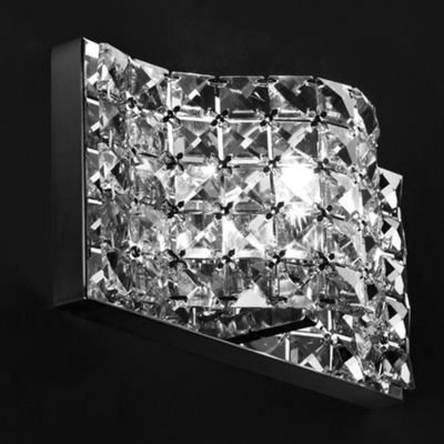 Arandela Arraia Metal Cromado Cristal Transparente 9x26cm Bella Iluminação 1 G9 Halopin HO2461 Corredores e Salas