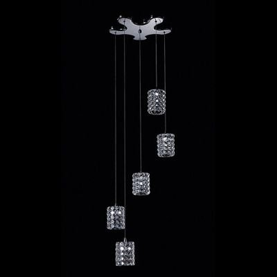 Pendente Sonata 5x Tubos Metal Aço Cristal Ø39cm Bella Iluminação 5 G9 Halopin Bivolt HO2665P Entradas e Salas