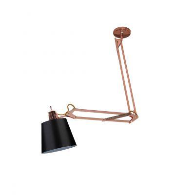 Luminária Scope Articulável Cobre Tecido Preto 80x62cm Bella Iluminação 1 E27 40W Bivolt HU1002A Quartos e Balcões