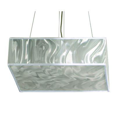Pendente Acetato Cromado Holográfico Quadrado 12x40cm Bella Iluminação 4 E27 Bivolt HU1092S Entradas e Quartos