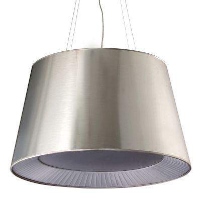 Pendente Sunshade Metal Escovado Acetato Tecido 42x70cm Bella Iluminação 3 E27 Bivolt HU2083S Quartos e Salas