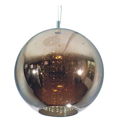 Pendente Fairy Esfera Aço Cristal Vidro Bronze Ø30cm Bella Iluminação 1 E27 Bivolt HU2084B Cozinhas e Mesas