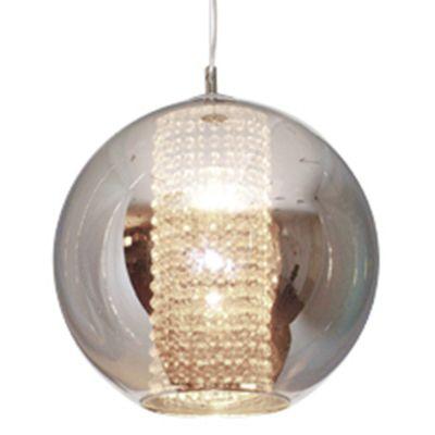 Pendente Fairy Esfera Aço Cristal Vidro Cromado Ø30cm Bella Iluminação 1 E27 Bivolt HU2084C Mesas e Cozinhas