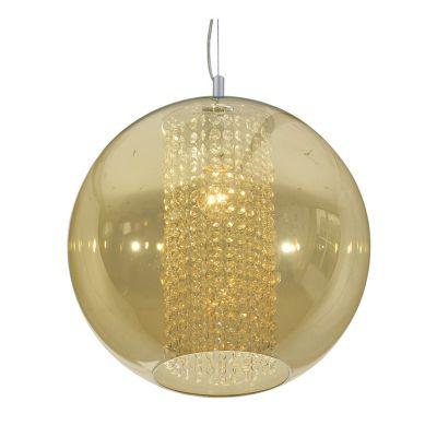 Pendente Fairy Esfera Aço Cristal Vidro Âmbar Ø40cm Bella Iluminação 1 E27 Bivolt HU2085A Cozinhas e Salas