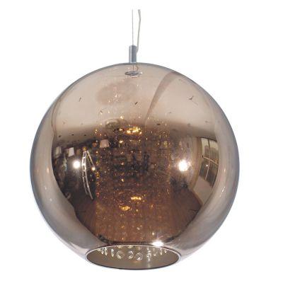 Pendente Fairy Esfera Aço Cristal Vidro Bronze Ø40cm Bella Iluminação 1 E27 Bivolt HU2085B Salas e Cozinhas
