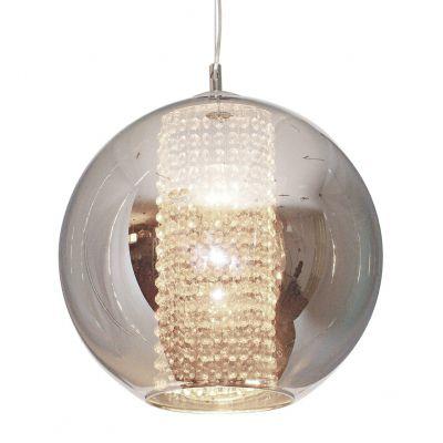 Pendente Fairy Esfera Aço Cristal Vidro Cromado Ø40cm Bella Iluminação 1 E27 Bivolt HU2085C Cozinhas e Salas